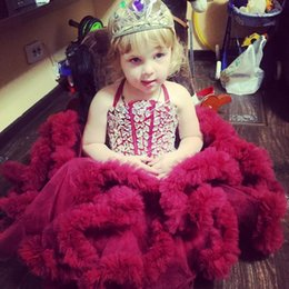 Wholesale Gorgeous Little Girl s Pageant Party Dresses for Birthday Wedding Flower Girls Dress Rhinestones Halter Ruffles Puffy Ball Gown BA0663