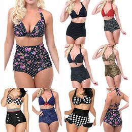 Wholesale 2015 Women High Waist Swimsuit Vintage Dotted Leopard Push Up Halter Padded Sexy Bikini Set Plus Size S XL