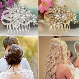 Wholesale Gold Silver Bridal Hair Combs Headpieces Rhinestone Crystal Wedding Tiaras Prom Crown Bridesmaid Hair Clip Comb Jewelry