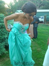 Wholesale 2015 Charming Stock Beach Prom Chiffon Dresses A Line Sweetheart Sleeveless Sweep Train Lace up Evening Dresses Sequins Rhinestone Party