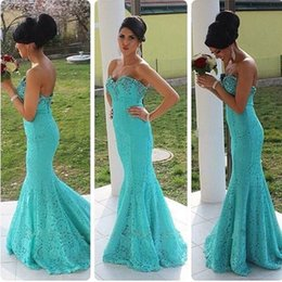 Wholesale Aqua Lace Mermaid Prom Dresses Sweetheart Beaded Floor Length Sexy Plus Size Bridesmaid Dresses For Girls Evening Wedding Gowns