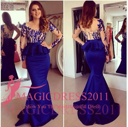Wholesale Sexy Royal Blue Evening Dresses Sheer Neck Long Formal Prom Gowns Occasion Dresses Mermaid Jewel Long Sleeve Peplum Party Celebrity