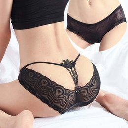 Wholesale Women s Underwear Lace transparent Underpants Sexy Panties Sexy G Strings And Thongs Underwear T pants Lingerie Panty Black