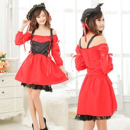 Wholesale Women Sexy Pirate Roll Play Costumes Red Sexy Pirate Costumes For Women Sexy Lingerie Dress Hat