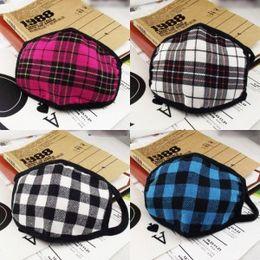 Wholesale Dust proof Face Masks Korean fashion warm cotton checkered stripes adult outdoor riding masks anti dust masks couple masks