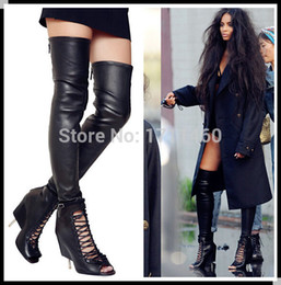 Thigh High Open Toe Gladiator Heels Online | Thigh High Open Toe ...