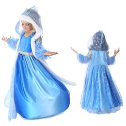 Wholesale frozen snow queen elsa costume anime cosplay dress frozen elsa dress blue frozen princess elsa dress with hooded cape