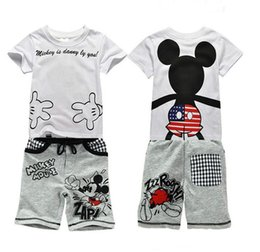 Wholesale Summer Mickey Minnie Mouse Cartoon Sets Baby Boys Short Sleeves T shirt Pants Cotton Kids Babies Clothes