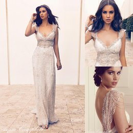 Wholesale Anna Campbell Lace Boho Summer Wedding Gowns Cap Sleeves Beading Crystals Sash Sexy Beach Bridal Party Dress Custom Made