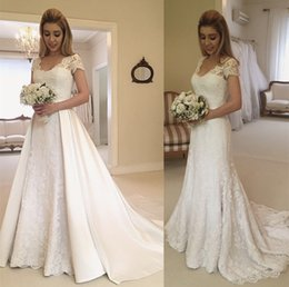 fbed6d0b4ab2 Vintage Lace 2019 A Line Wedding Reception Dresses With Detachable Train  Short Sleeves Plus Size Vestidos Garden Country Bridal Party Gowns
