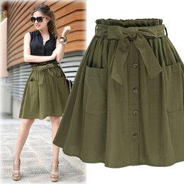 0c2d0ec8ec High Elasticity Waist Pocket Skirt Women Army Green Black Cotton 2018 New  Summer A-line Casual Pleated Mini Skirt Women Clothing Y19050602