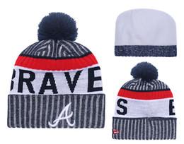 2018 New Sport Braves Baseball Skullies Hat Pom Cuffed Knitted Hats With  Embroidered Team Logo Fans Fashion Atlanta Winter Women Beanies e2c93b1e8ac9