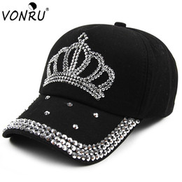 VONRU Brand New Crown Rhinestone Baseball Caps Fashion Jean Hat Hip Hop Women  Denim Baseball Cap Sun Hat  17243 99d8b45887c5