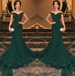 2019 Elegant Arabic Dark Green Sequined Mermaid Evening Dresses Off The Shoulder Ruched Floor Length Evening Prom Gowns Party Dress BC0792