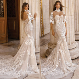 40fcc81a2a532 2019 Vintage Berta Mermaid Wedding Dresses With High Neck Wraps Lace  Sequins Backless Bridal Gowns Plus Size Beach Robe De Mariée