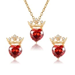 Wholesale Red Heart Necklace NZ - Red heart with zircon crown necklace  earrings jewelry sets Elegant 4cafcf174e47