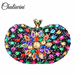 cbf2ea56a9 Ladies Side Bags NZ - Colorful Beauty Evening Diamond Two side Flowers  Fully Multi Crystal Sling
