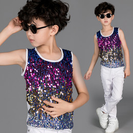 2019 Jazz Dance Costume Boys Colourful Sequined Vest Top Kids Hip Hop  Clothing Childs Modern Stage Performance Dancewear DN2961 28c982d9e5c0