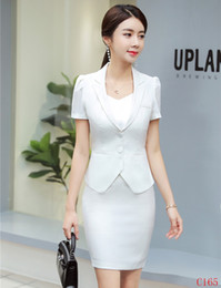 0f65956cd98 New 2019 Summer Formal Ladies White Blazer Women Business Suits with Skirt  and Jacket Sets Work Wear Office Uniform Styles