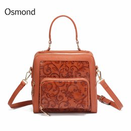 b7e87b7c98f1 Bolsa Feminina 2019 Brand Vintage Leather Bag For Women Luxury Handbag  Female Embossed Flower Messenger Bag Totes Small Hand