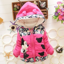 Wholesale Girls Winter jacket fashion Mickey hooded kids warm thicken Coat Padded Outwear flower printed children clothes For Y Baby LD231
