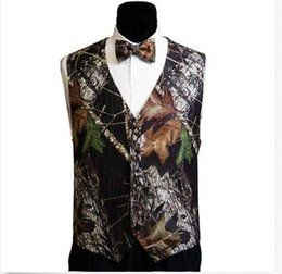 Wholesale 2015 V neck Camo Groom Vest with a Bow Tie and Buttons
