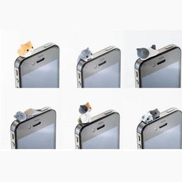 2017 cute anti dust cap 6pcs Cute Cheese Cat 3.5mm Anti Dust Earphone Jack Plug Stopper Cap for Mobile Phone