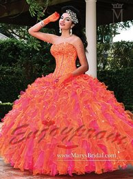 Wholesale 2015 New Arrival Princess Orange Organza Sweetheart Ruffles and Shining Crystals Ball Gown Glitter Quinceanera Dresses Prom Dress