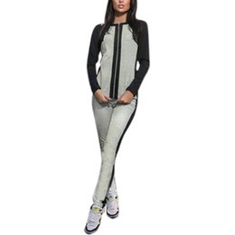 Wholesale Hot Fashion Womens Zipper Tracksuit Hoodies Sweatshirt Pants Casual Patchwork Sportsuit Plus Size Jogging Suits For Women