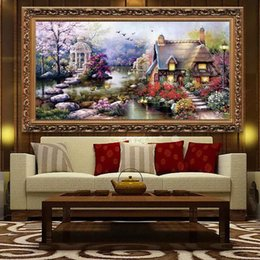 superb handmade diy cross stitch embroidery kit garden cottage design home decoration 26515 inch - Garden Design Kit