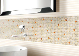 High quality interior exterior luxury Glass mosaic tile mounted mesh wall  tiles kitchen backsplash blend glass mesh mounted wall tile