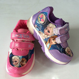 Wholesale Frozen Sneakers Princess Elsa Anna Shoes Sport Shoes for Girls Kids Running Shoes Purple Pink