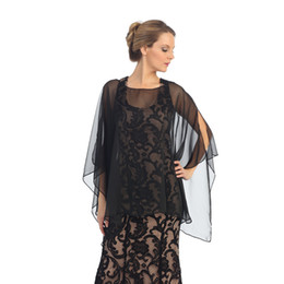 Wholesale Cheap Elegant Black Bridal Wraps for Bride Spring Free Size with Custom Made High Quality Sexy Sheer Chiffon Evening Mother Jackets