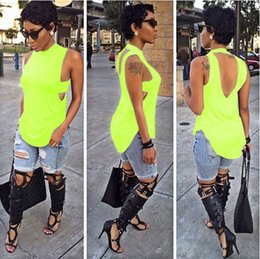 Wholesale 2015 Fashion Color Sleeveless Backless Tshirts Women Tees t shirts blouses shirts