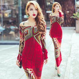Wholesale Knitted dress autumn winter women red bohemia print long sleeve slim hip placketing knitting sweater long maxi dress