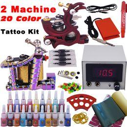 Wholesale Professional Complete Tattoo Kit Tattoo Starter Set Body Art Top Machines Guns Colors Ink YLT