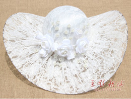 Wholesale White Or Red Lace Bridal Hats With Pearl Handmade Flower Glamorous Wedding Accessories New Arrival