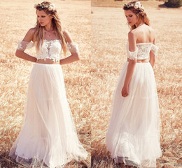 Wholesale Two Piece Boho Wedding Dresses Romantic Lace Sexy Off The Shoulder Short Sleeve Backless Cheap Wedding Party Dress High Quality