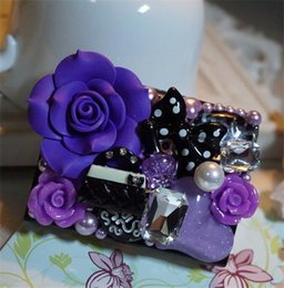Wholesale Purple Flower Contact Lens Case Beautiful Pure Handmade Fashion Contact Lens Boxes Girls Contact Lens Accessories H417