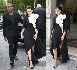 Wholesale 2015 Kim Kardashian Evening Dresses Long Sleeve Big Ruffles Flower Black Skirt Side Slit High Low Red Carpet Celebrity Prom Gowns BO6569