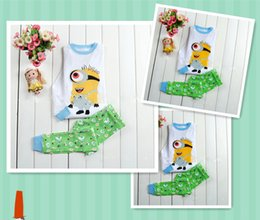 Wholesale Children Homewear Boys Long Sleeve Spring Cute Printing Cartoon Cotton Kid Pajama Girl Sweet Despicable Me Soft Breathable Children Clothing