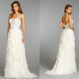 Wholesale Sweet Modern Wedding Dresses Sheath Sweetheart Sweep Train Chiffon Beads Cascading ruffles Bridal dresses