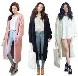 Wholesale Korean Stylenanda New Women Long Cardigan Casual Loose Maxi Cardigan Knitted Sweater Coat Black Pink Beige Knitwear