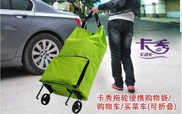 Wholesale Travel Portable Oxford tugboat fashion rack folding shopping cart foldable shopping trolley tote bag with wheel Rolling