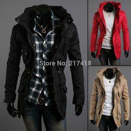 Wholesale Autumn winter men s korean style slim cultivate Fashion hooded drawstring waist casual jacket