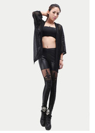 Wholesale New Punk Sexy PU Leather legging fashion Stitching Embroidery Bundled Hollow Lace Black Leggings for Women Hot S102 DHL