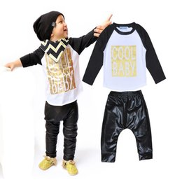 Wholesale Retail Cool Baby Boy Clothing Set Autumn Letter Printed Long Sleeve T shirt Black Pants Boys Sets Cool Baby Newborn Clothing Sets