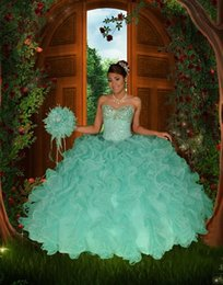 Wholesale Lovely Turquoise Quinceanera Dresses Ball Gown Sweetheart Beaded Organza Party Dress vestido de debutante para anos