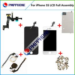 Pour l'iPhone 5S Moniteur d'affichage à cristaux liquides avec l'écran tactile Digitizer accessoires + Bouton d'accueil + Front Camera complet Noir et blanc Livraison gratuite