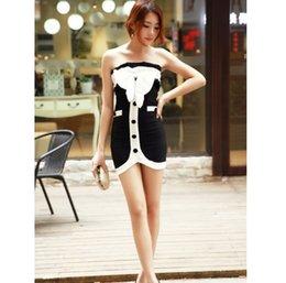 Wholesale 2015 Elegant Bowknot Embellished Single Breast Off Shoulder Dress Black